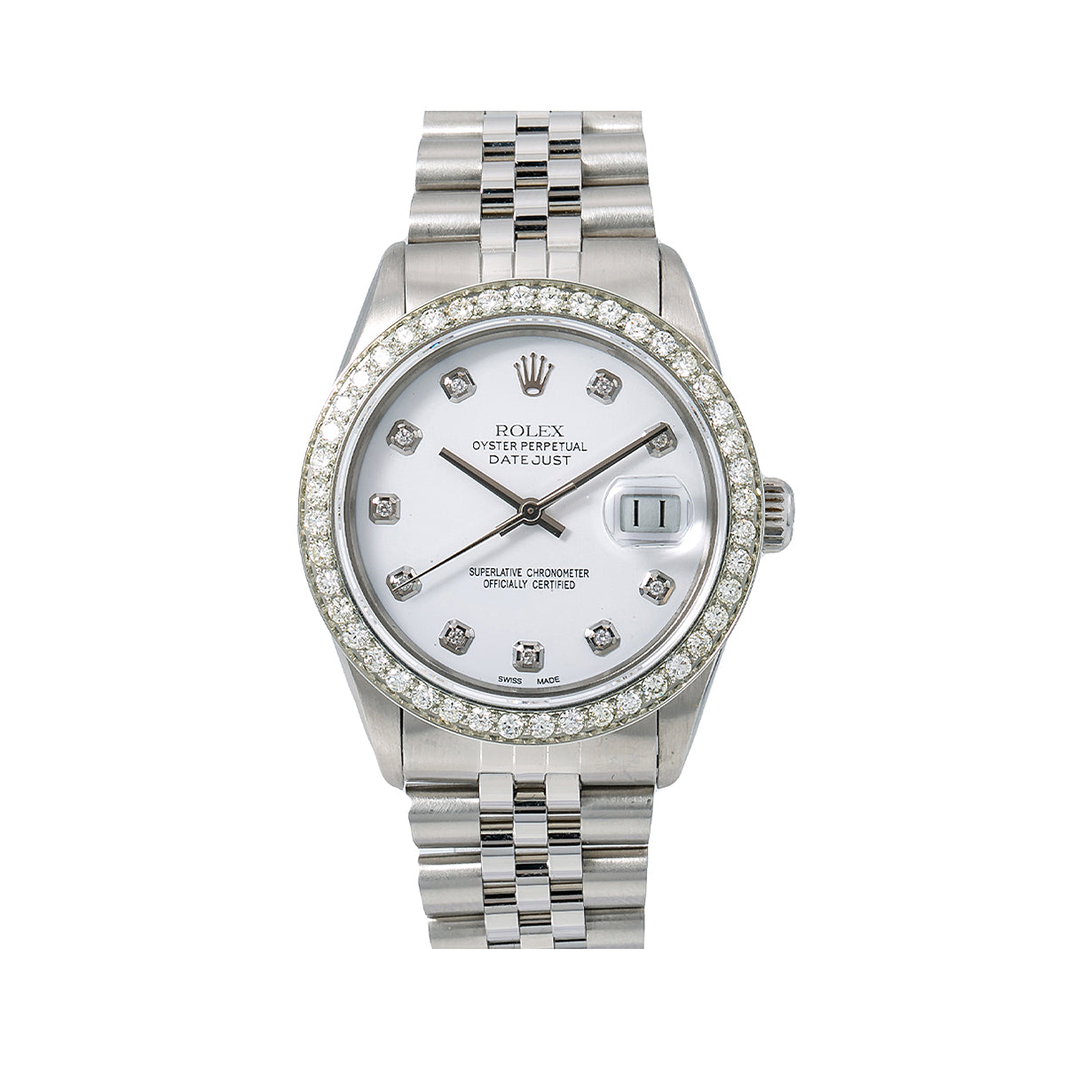 Rolex Datejust Diamond Watch, 16000 36mm, White Diamond Dial With 1.40 CT Diamonds