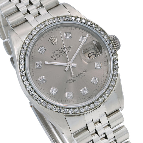 Rolex Datejust Diamond Watch, 16014 36mm, Silver Diamond Dial With 1.20 CT Diamonds