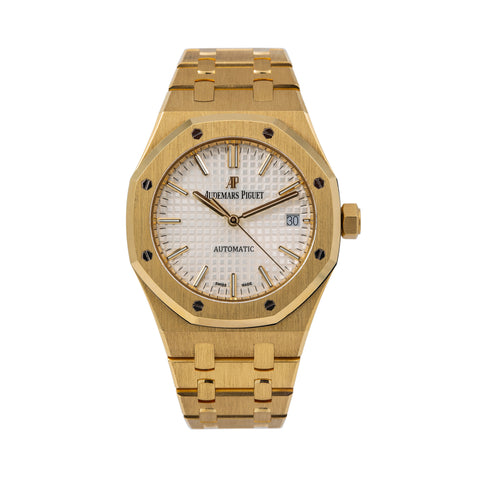 Audemars Piguet Royal Oak Selfwinding 15450BA 37MM White Dial With Yellow Gold Bracelet