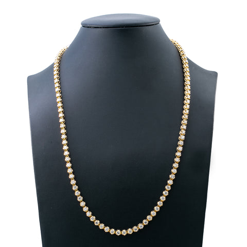 14K Yellow Gold Men's Tennis Chain With 15 CT Diamonds