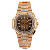 18K Rose Gold Patek Philippe Nautilus 5980/1R 40.5mm Brown Dial 25CT Diamonds