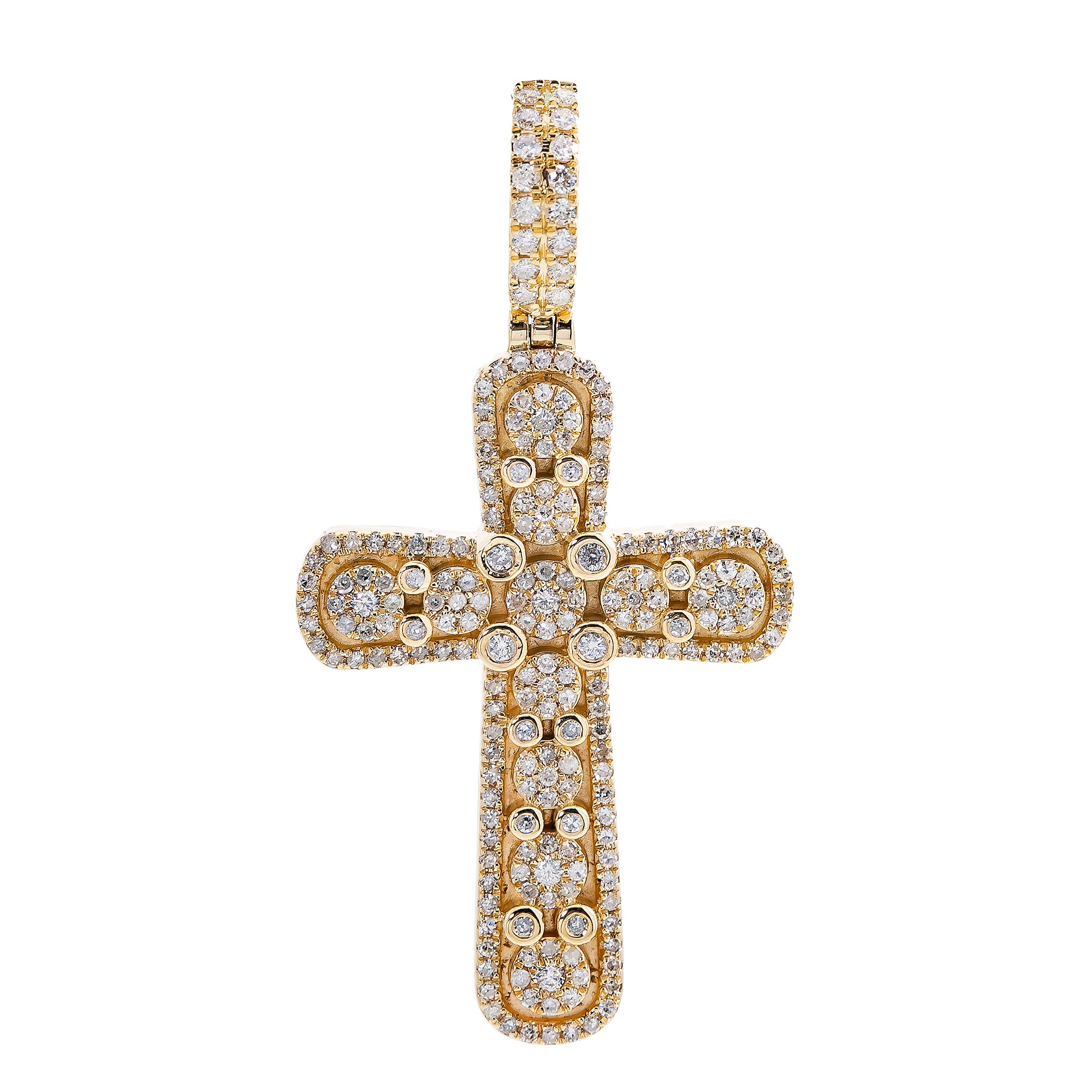 Unisex 14K Yellow Gold Cross Pendant with 1.1 CT Diamonds