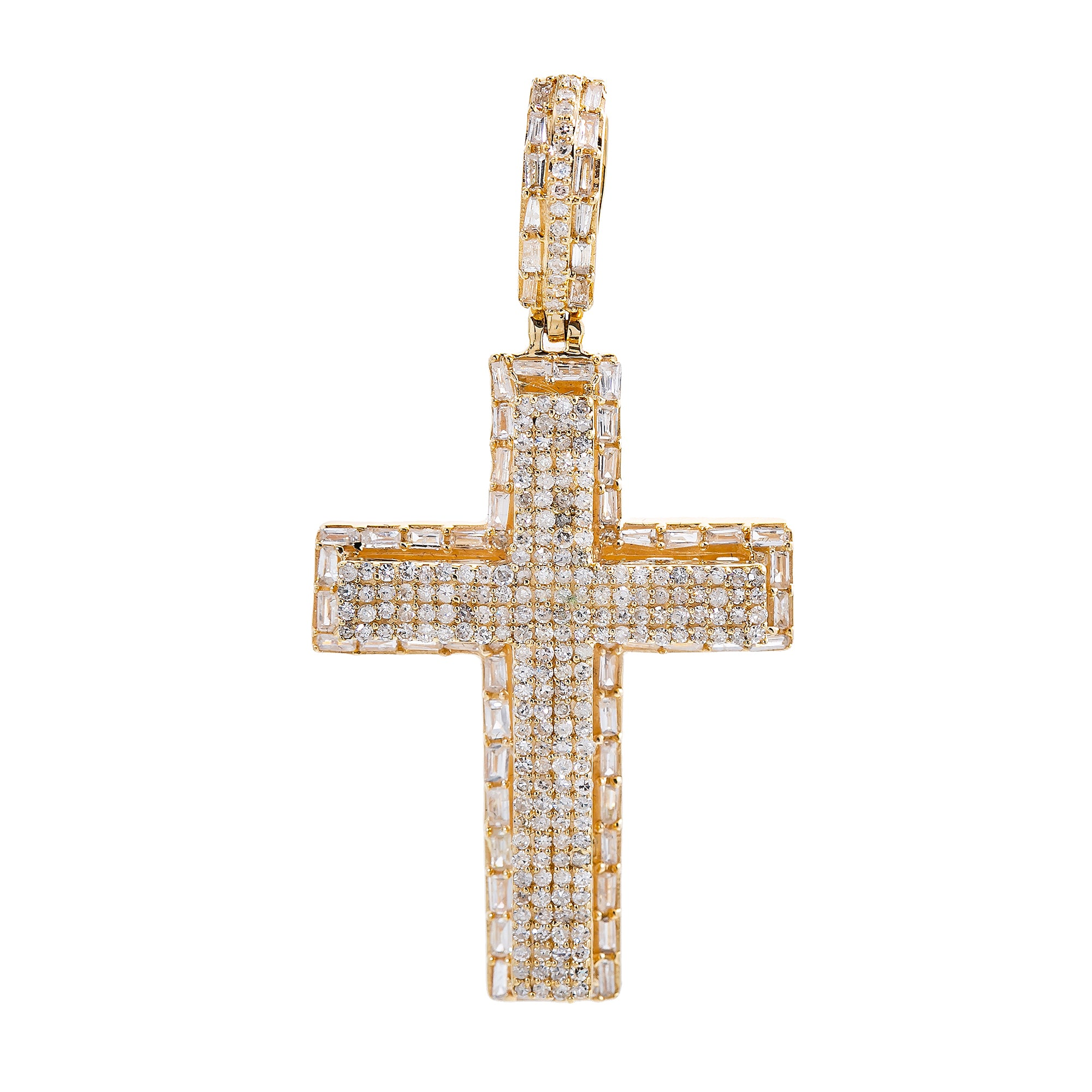 Unisex 14K Yellow Gold Cross Pendant with 1.11 CT Diamonds
