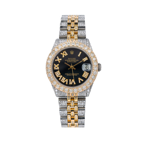 Rolex Datejust Diamond Watch, 31mm, Black Diamond Dial Jubilee Diamond Bracelet With 10.2 Carat Diamonds