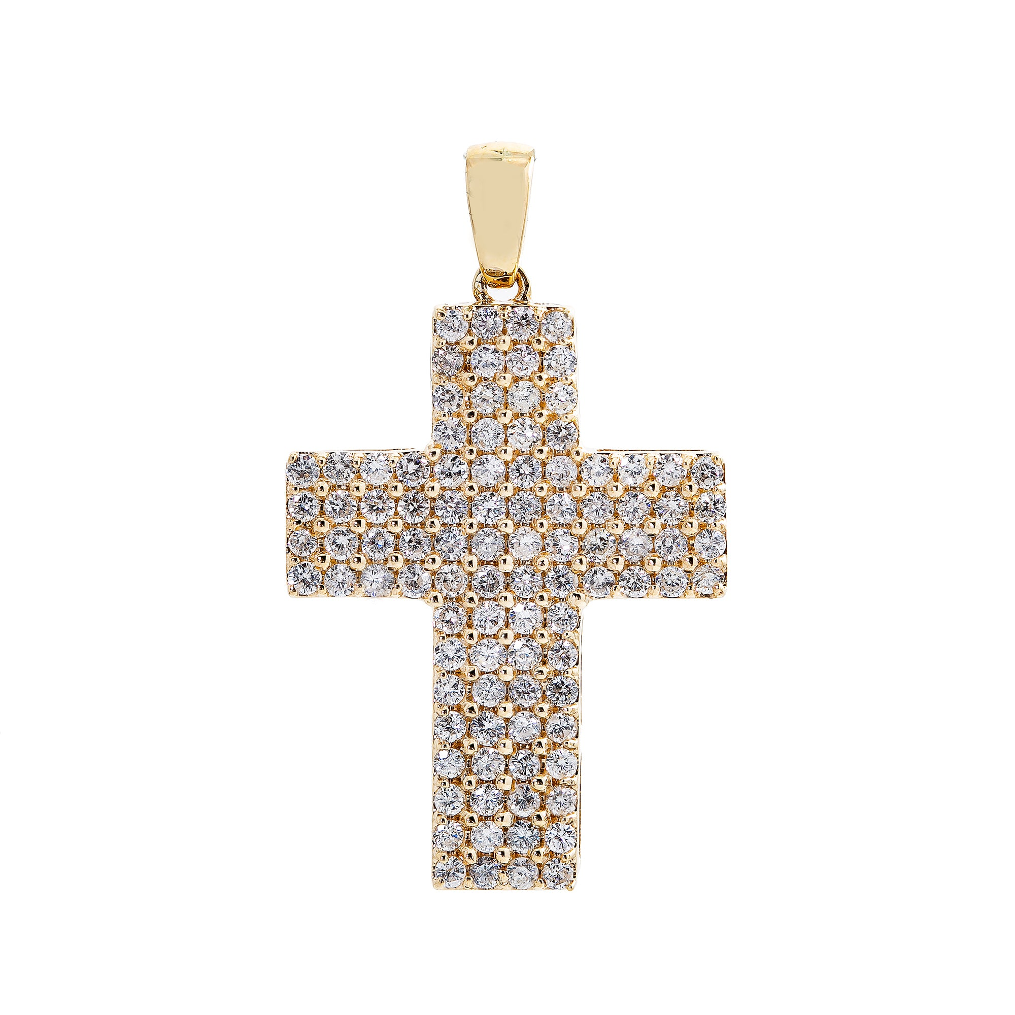 Unisex 14K Yellow Gold Cross Pendant with 1.76 CT Diamonds
