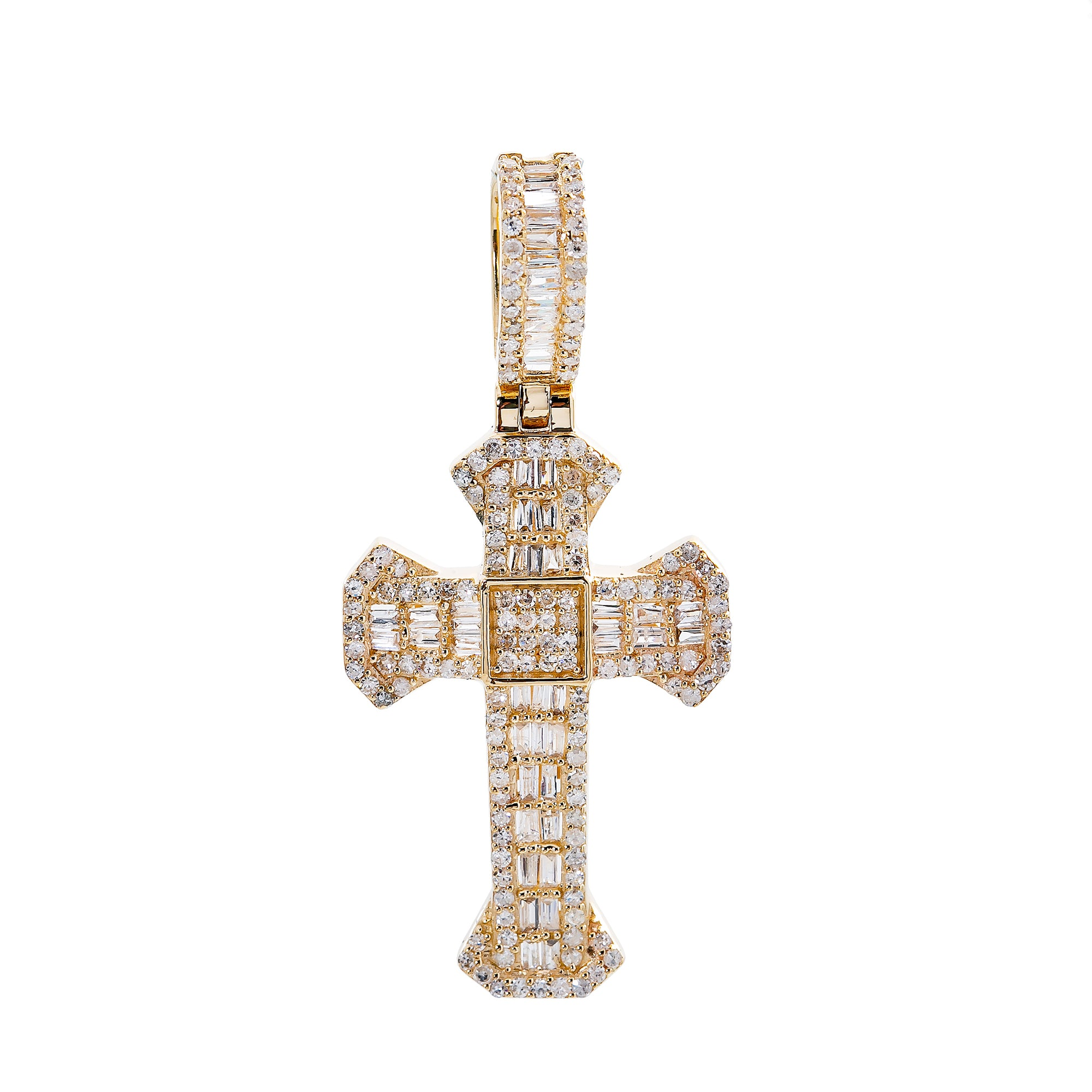 Unisex 14K Yellow Gold Cross Pendant with 0.66 CT Diamonds