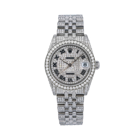 Rolex Datejust Diamond Watch, 31mm, Silver DiamondDial With Stainless Steel Diamond Bracelet Total Of 12ct Diamonds