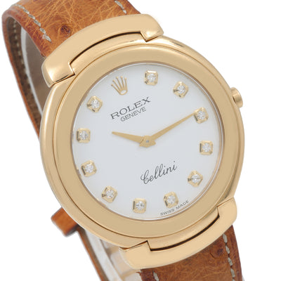 Rolex Cellini 6623M 37MM White Diamond Dial With Leather Bracelet