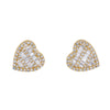 14K Yellow Gold Ladies Heart Shape Earrings with 0.84 Baguette CT Diamond