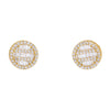 14K Yellow Gold Ladies Earrings with 0.73 Baguette CT Diamond
