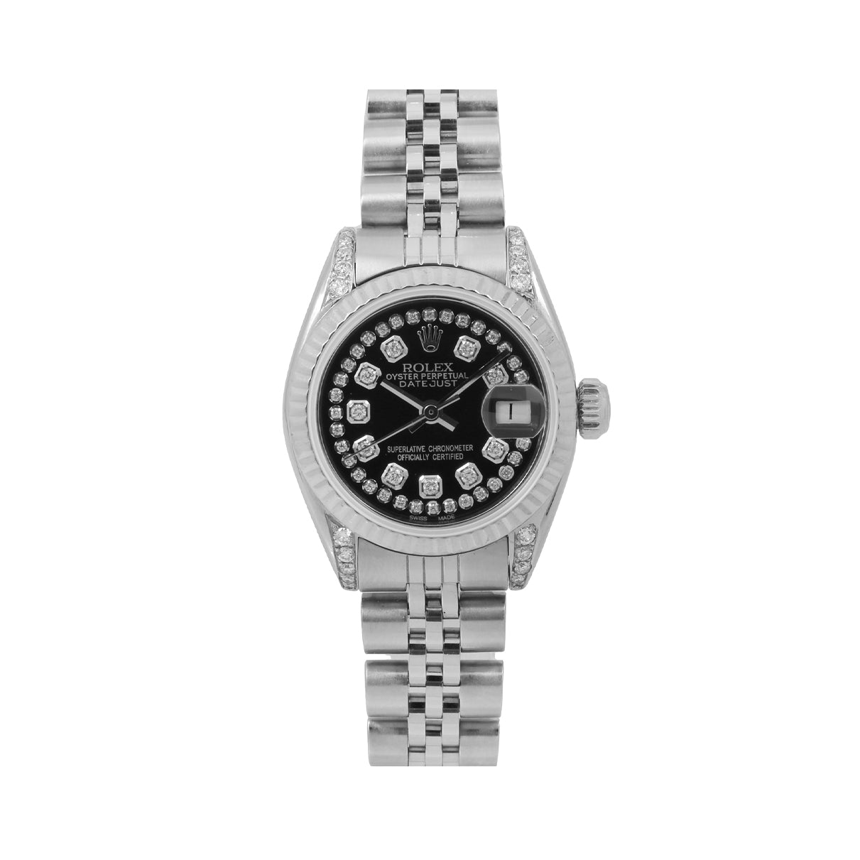 Rolex Datejust Diamond Watch, 26mm, Black Diamond Dial With Stainless Steel Jubilee Bracelet