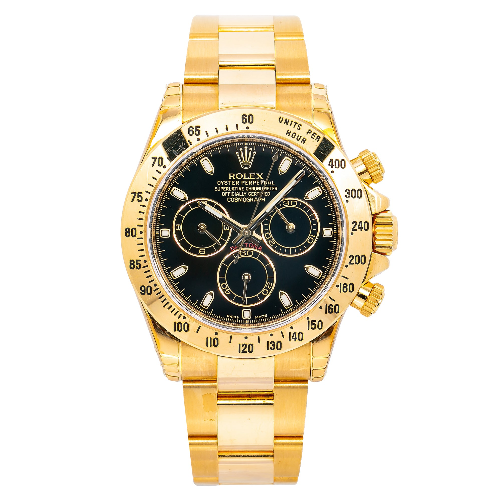 Rolex Daytona 116528 40MM Black Dial With Yellow Gold Bracelet
