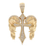 14K Yellow Gold Unisex Angel Wings Cross Shaped Pendant