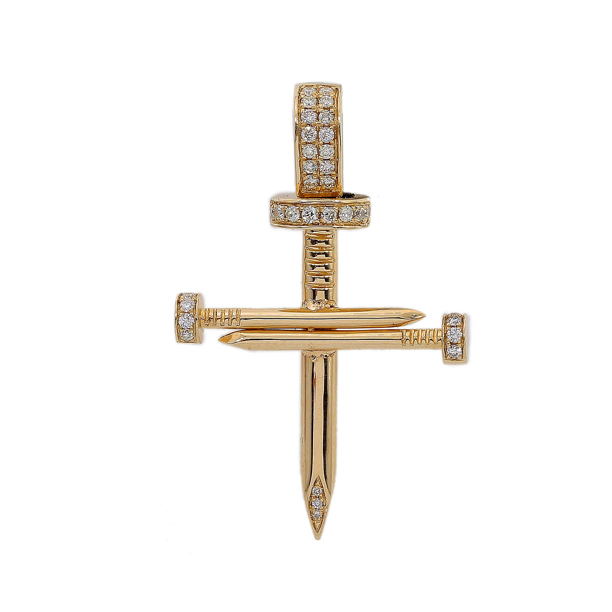 14K Yellow Gold Unisex Cross Shaped Pendant