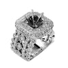 18K White Gold Diamond Semi-Mounting Women's Ring With 2.80 CT Diamonds