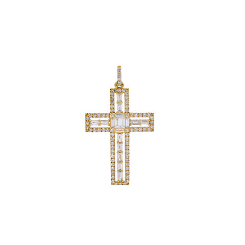 14K Yellow Gold Cross Pendant with 0.90 CT Baguette & Round Diamonds