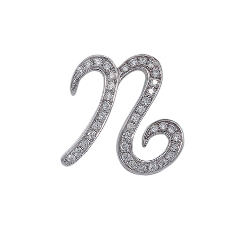 14K White Gold Unisex N Letter Shaped Pendant