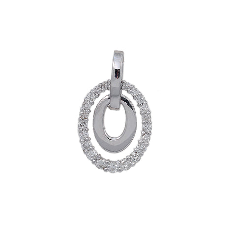 18K White Gold Unisex Round Shaped Pendant