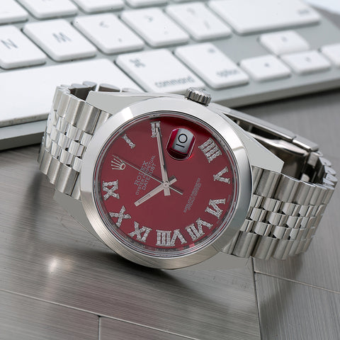 Rolex Datejust Diamond Watch, 126300 41mm, Red Diamond Dial With Stainless Steel Jubilee Bracelet