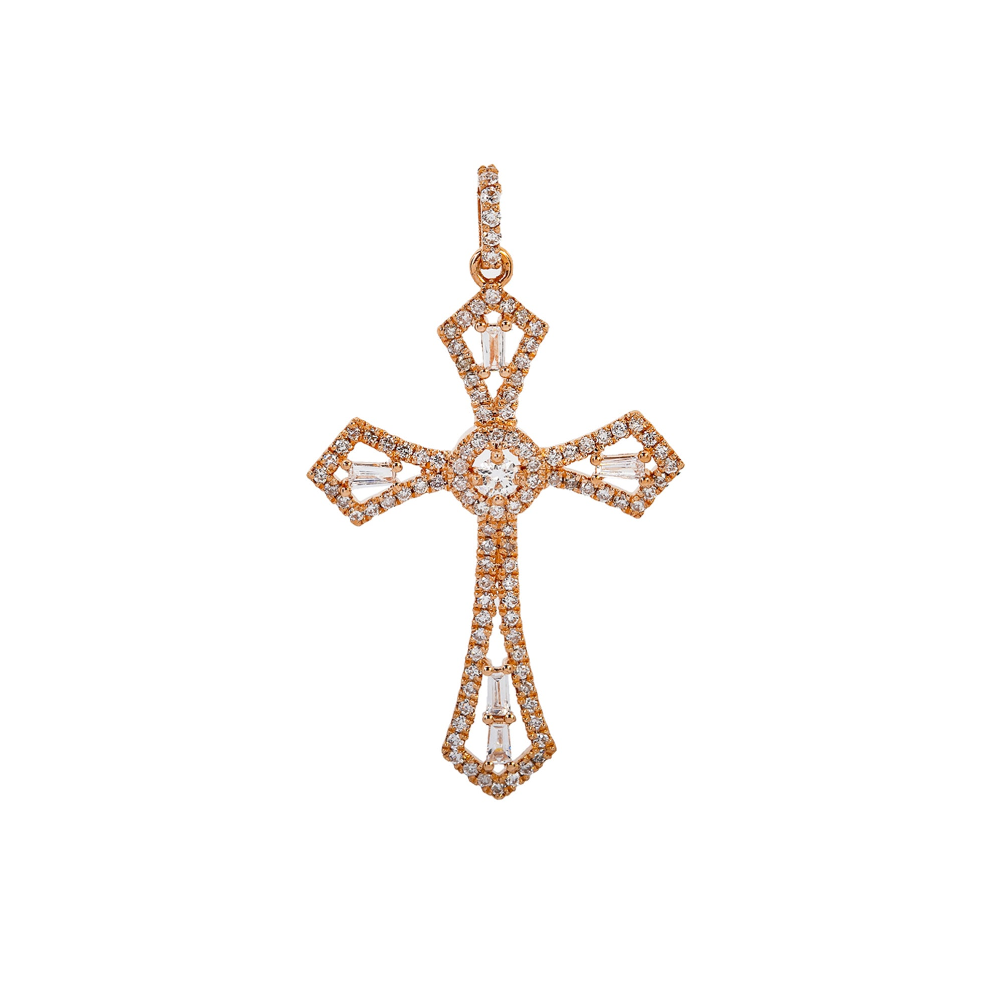 14K Rose Gold Cross Pendant with 0.62 CT Baguette and Round Diamonds