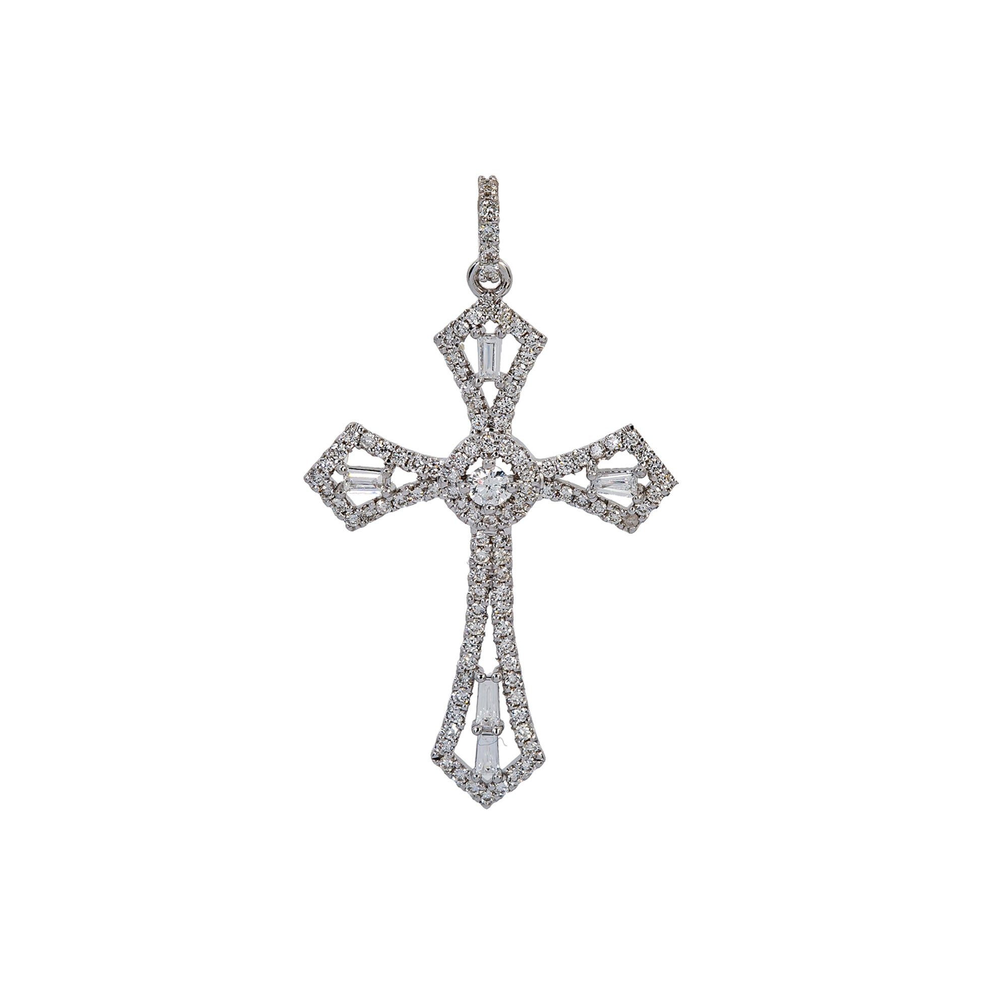14K White Gold Cross Pendant with 0.62 CT Baguette and Round Diamonds