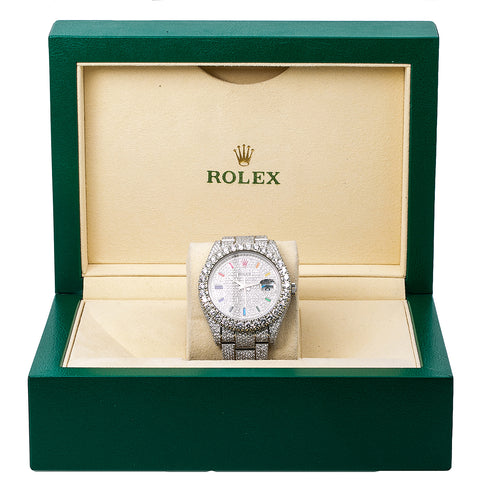 Rolex Datejust II Diamond Watch, 116300 41mm, Rainbow Custom Diamond Dial With 22.75 CT Diamonds Flower Setting