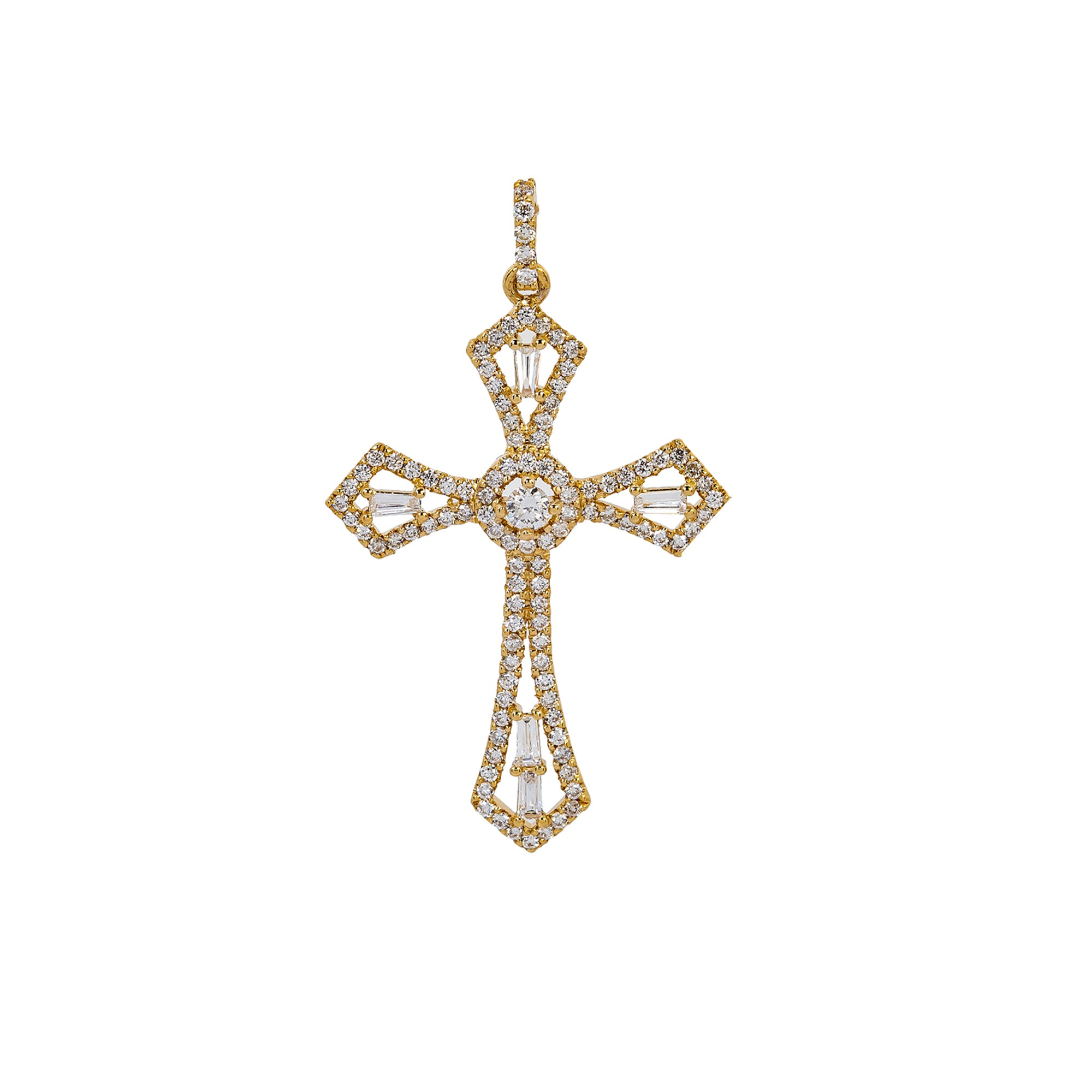 14K Yellow Gold Cross Pendant with 0.62 CT Diamond