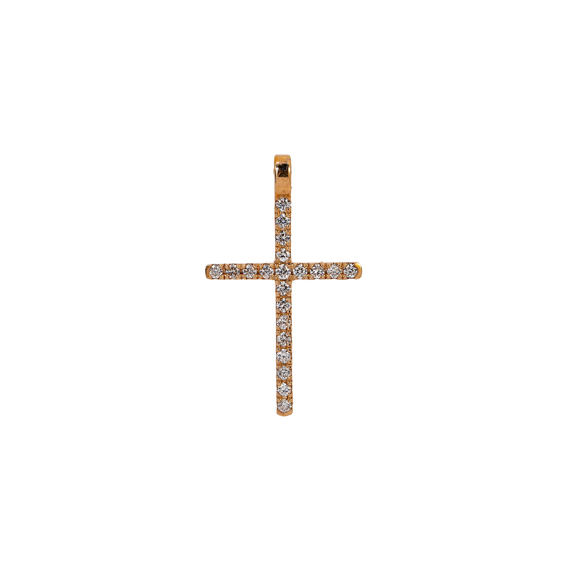 14K Rose Gold Cross Pendant with 0.20 CT Diamond