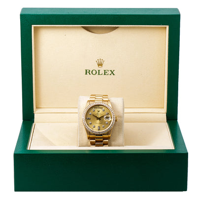 Rolex Day-Date 18038 36MM Champagne Diamond Dial With 1.20 CT Diamonds