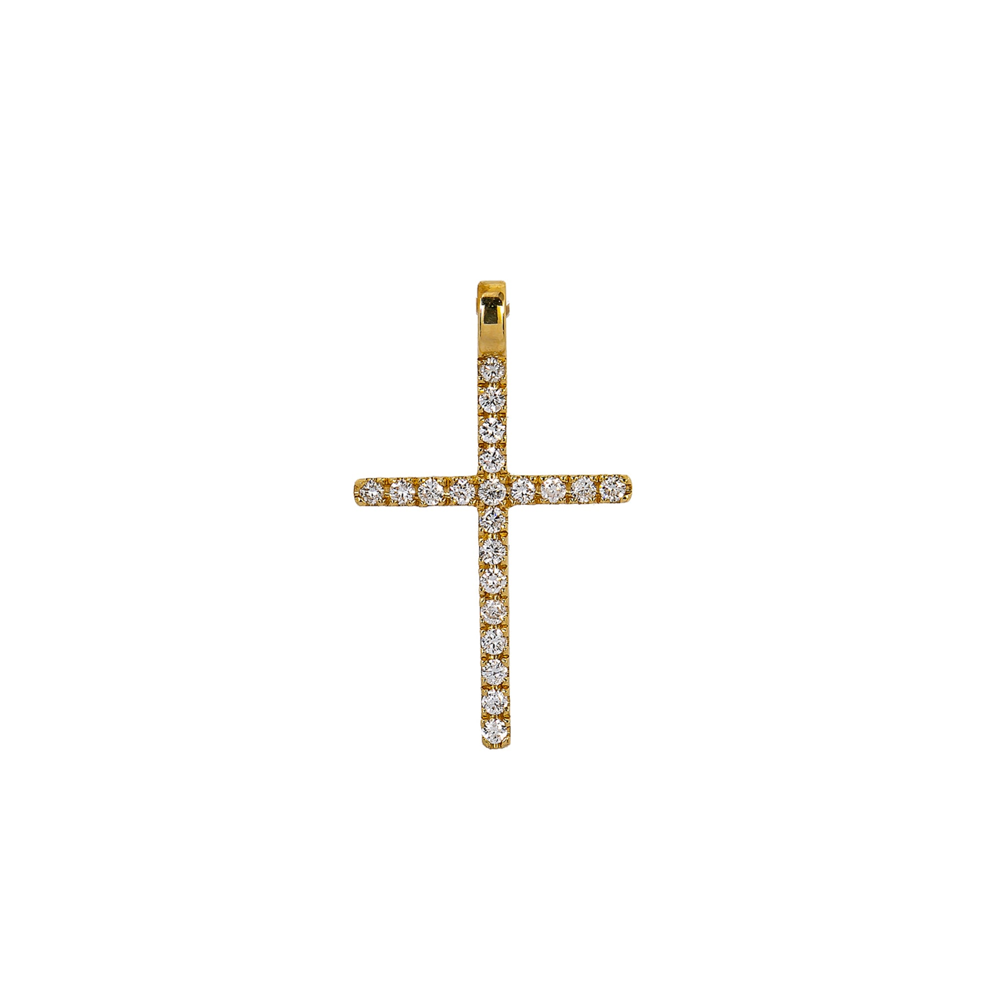 14K Yellow Gold Cross Pendant with 0.20 CT Diamond