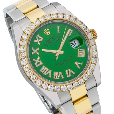 Rolex Datejust II 116333 41MM Green Diamond Dial With Two Tone Oyster Bracelet