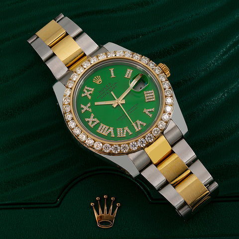 Rolex Datejust II Diamond Watch, 116333 41mm, Green Diamond Dial With Two Tone Oyster Bracelet