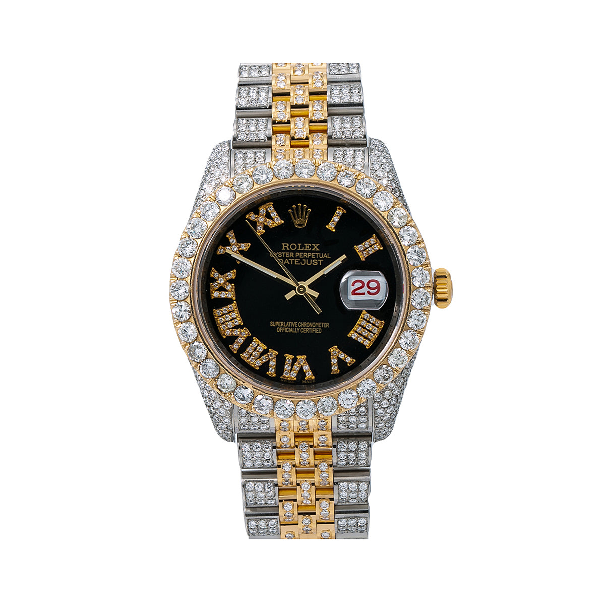 Rolex Datejust Diamond Watch, 116233 36mm, Black Diamond Dial With Two Tone Jubilee Bracelet