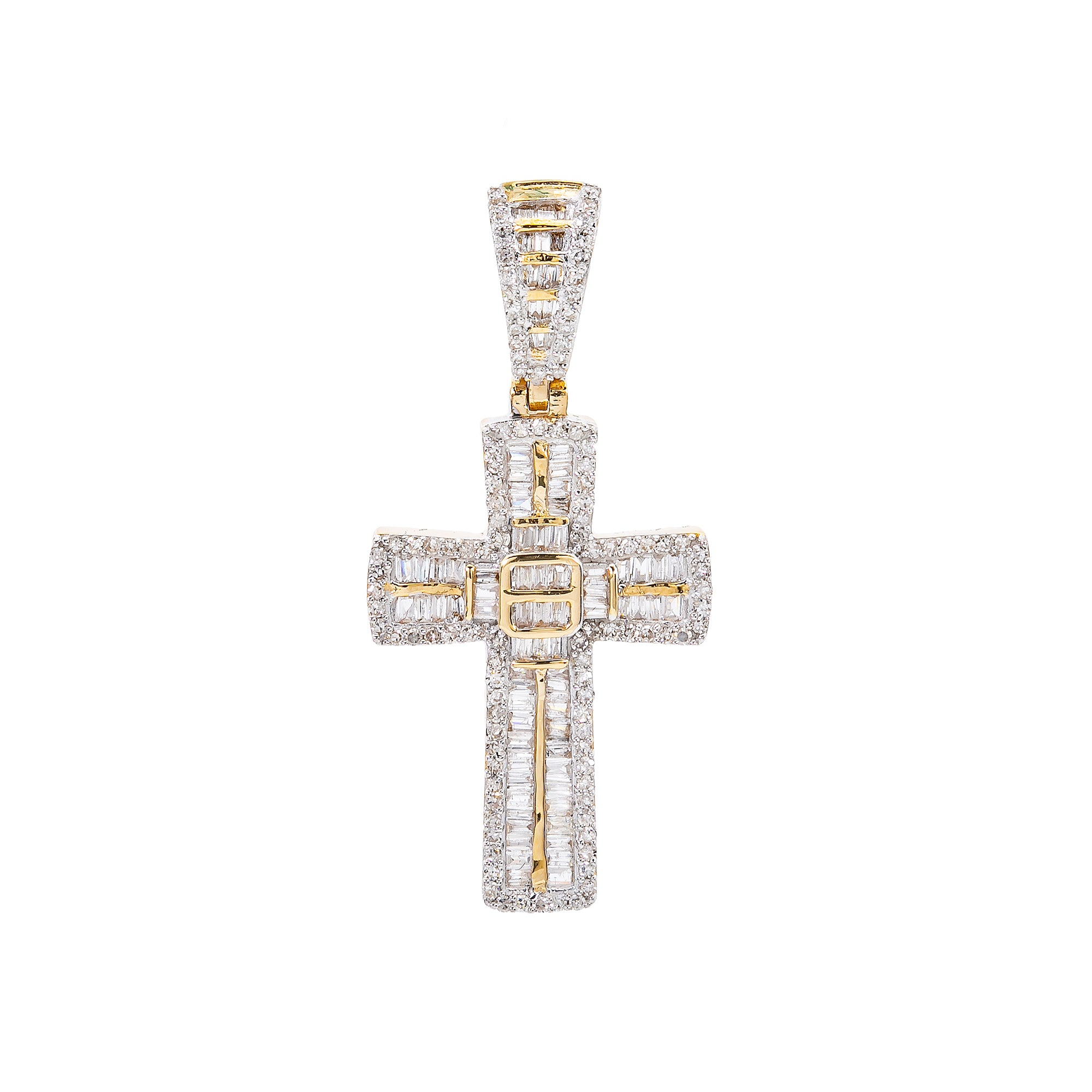 Unisex 14K Yellow Gold Cross Pendant with 0.75 CT Diamonds