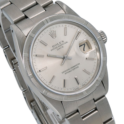 Rolex Oyster Perpetual Date 1501 34MM Silver Dial With Stainless Steel Oyster Bracelet