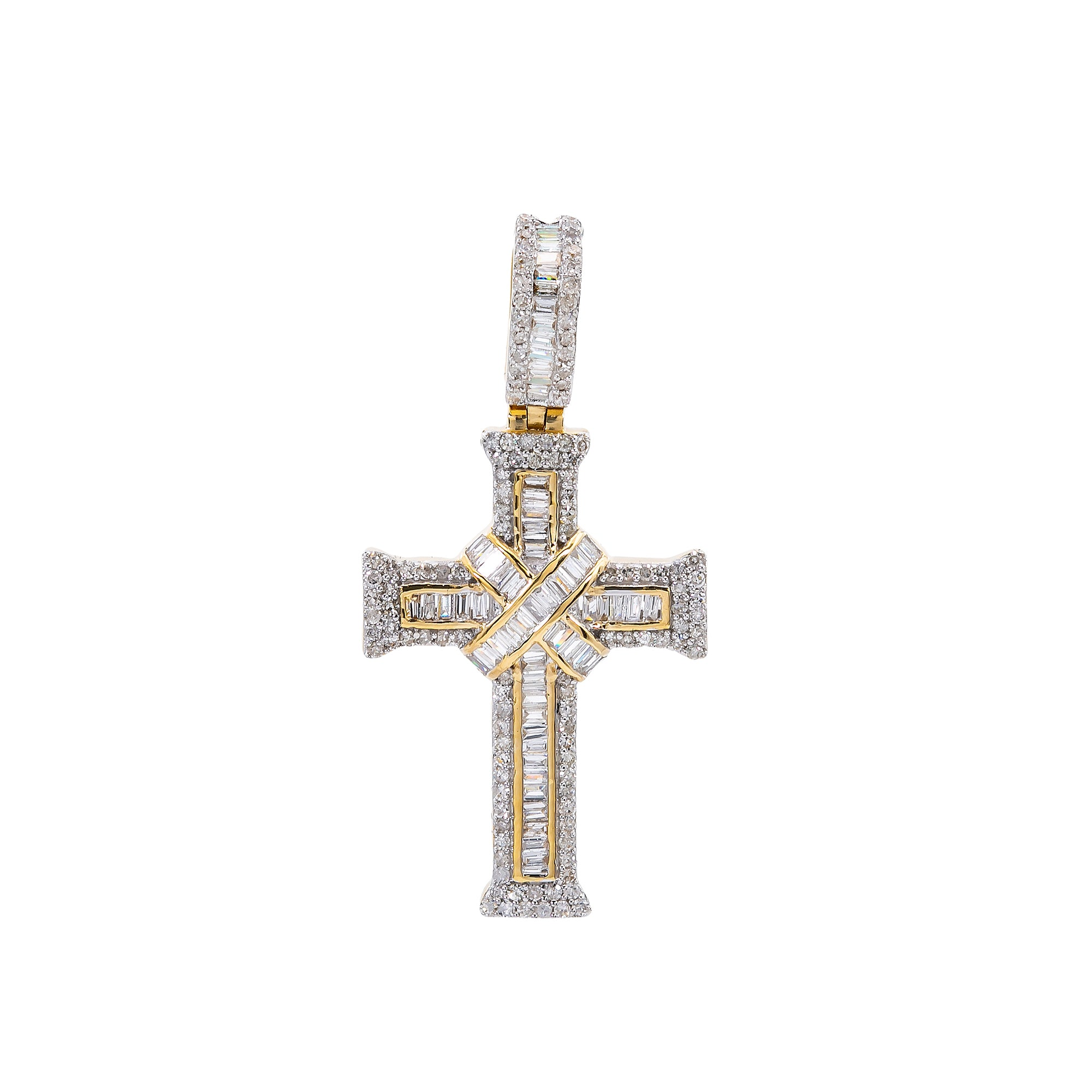 Unisex 14K Yellow Gold Cross Pendant with 0.69 CT Diamonds