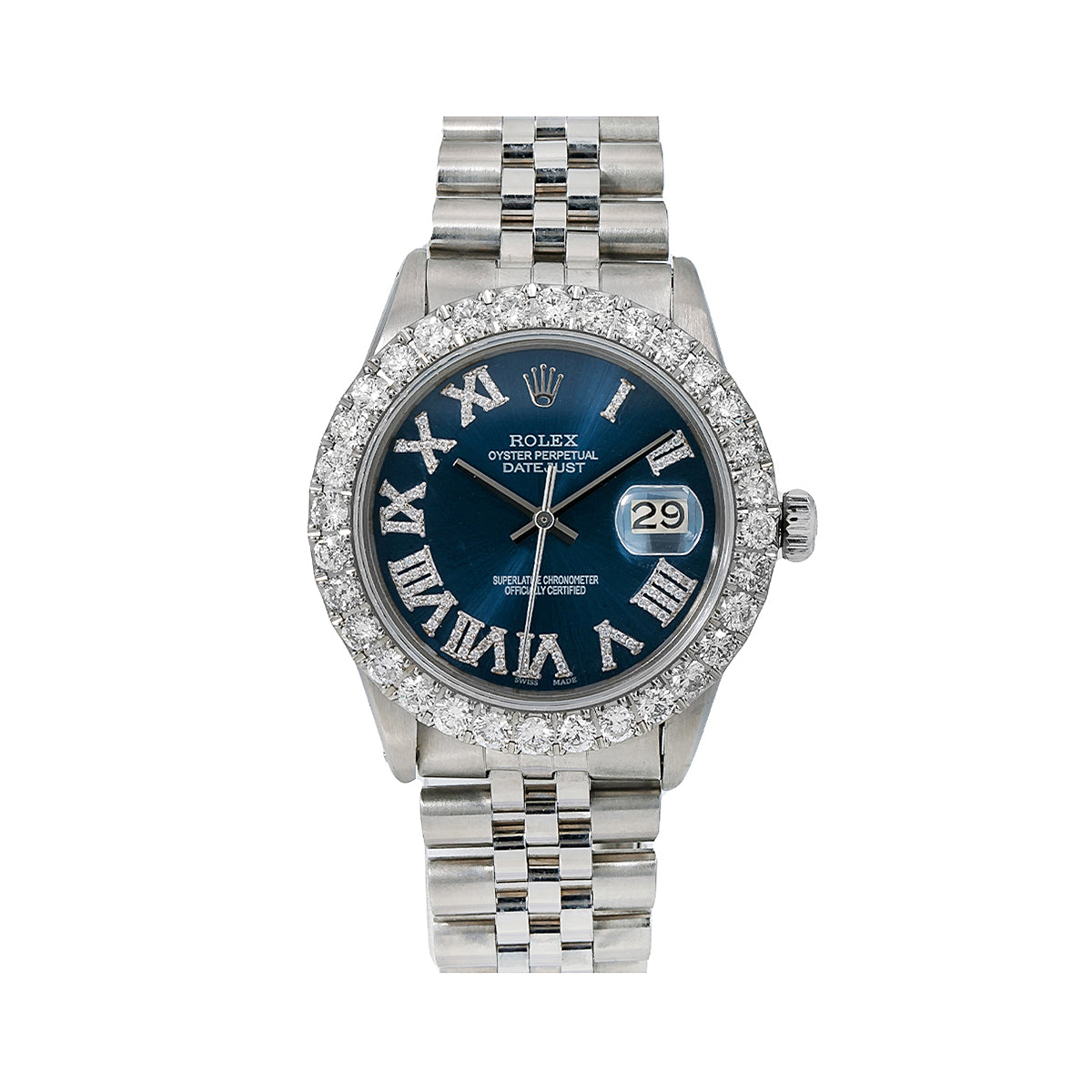 Rolex Datejust 16030 36MM Blue Diamond Dial With 3.25 CT Diamonds