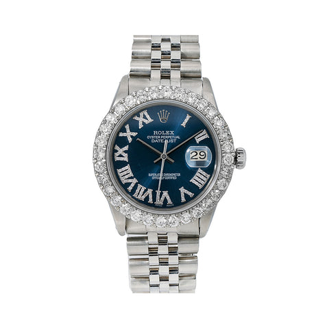 Rolex Datejust Diamond Watch, 16030 36mm, Blue Diamond Dial With 3.25 CT Diamonds