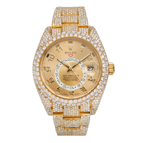 18K Yellow Gold Rolex Diamond Watch, Oyster Perpetual Sky-Dweller 326938 42mm, Champagne Dial with 23.75CT Diamonds