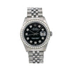 Rolex Oyster Perpetual Diamond Watch, Datejust 16014 36mm, Black Diamond Dial With 1.40 CT Diamonds