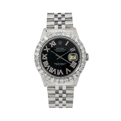 Rolex Oyster Perpetual Diamond Watch, Datejust 16014 36mm, Black Diamond Dial With 3.25 CT Diamonds