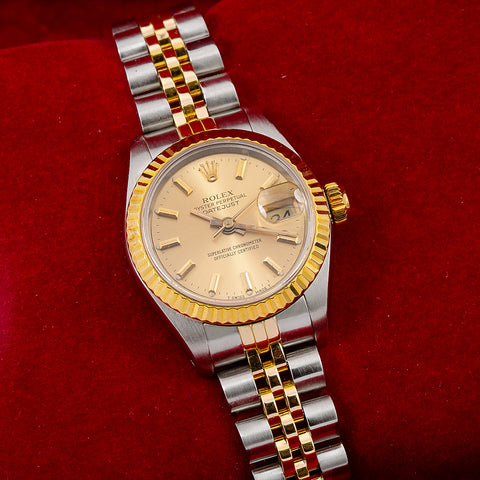 Rolex Datejust 69173 26MM Champagne Dial With Two Tone Jubilee Bracelet
