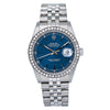 Rolex Datejust 16220 36MM Blue Dial With 1.10 CT Diamonds
