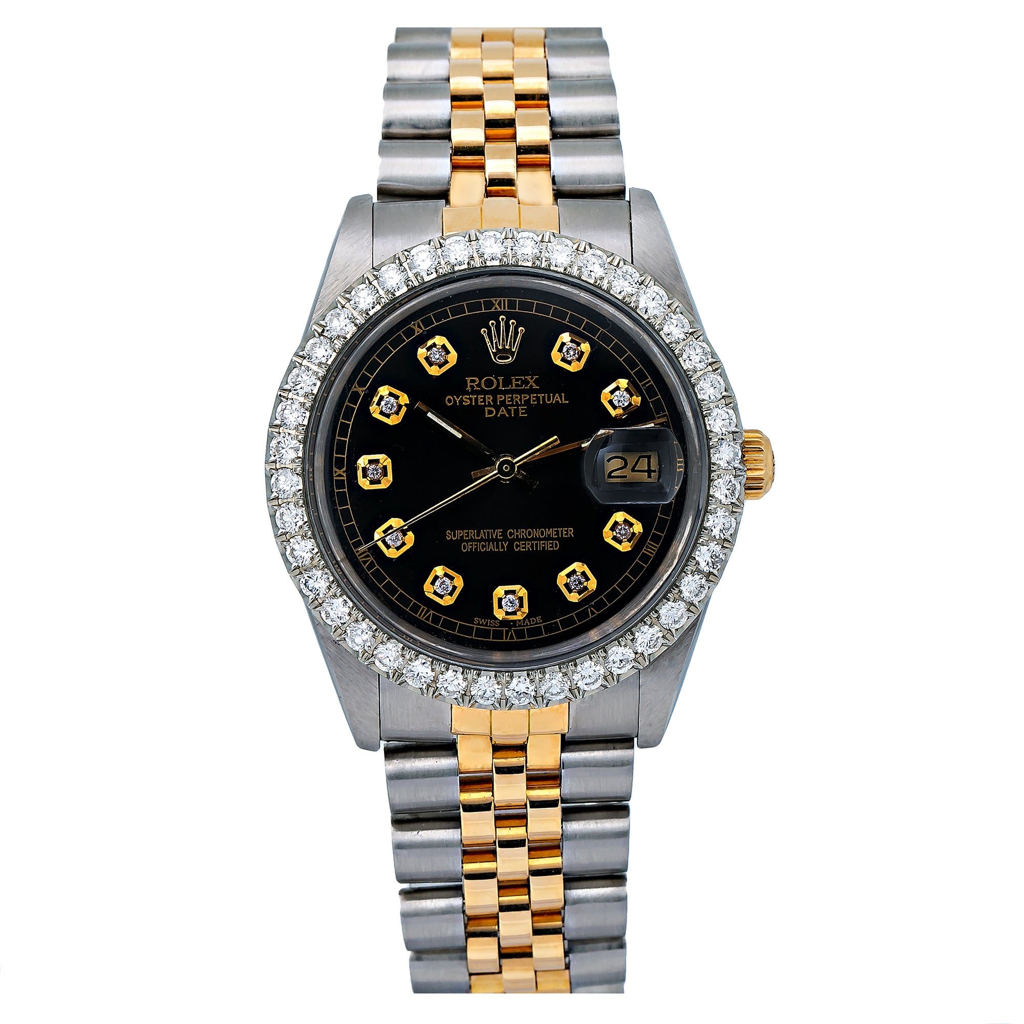 Rolex Oyster Perpetual Date 15053 34MM Black Diamond Dial With 1.30 CT Diamonds