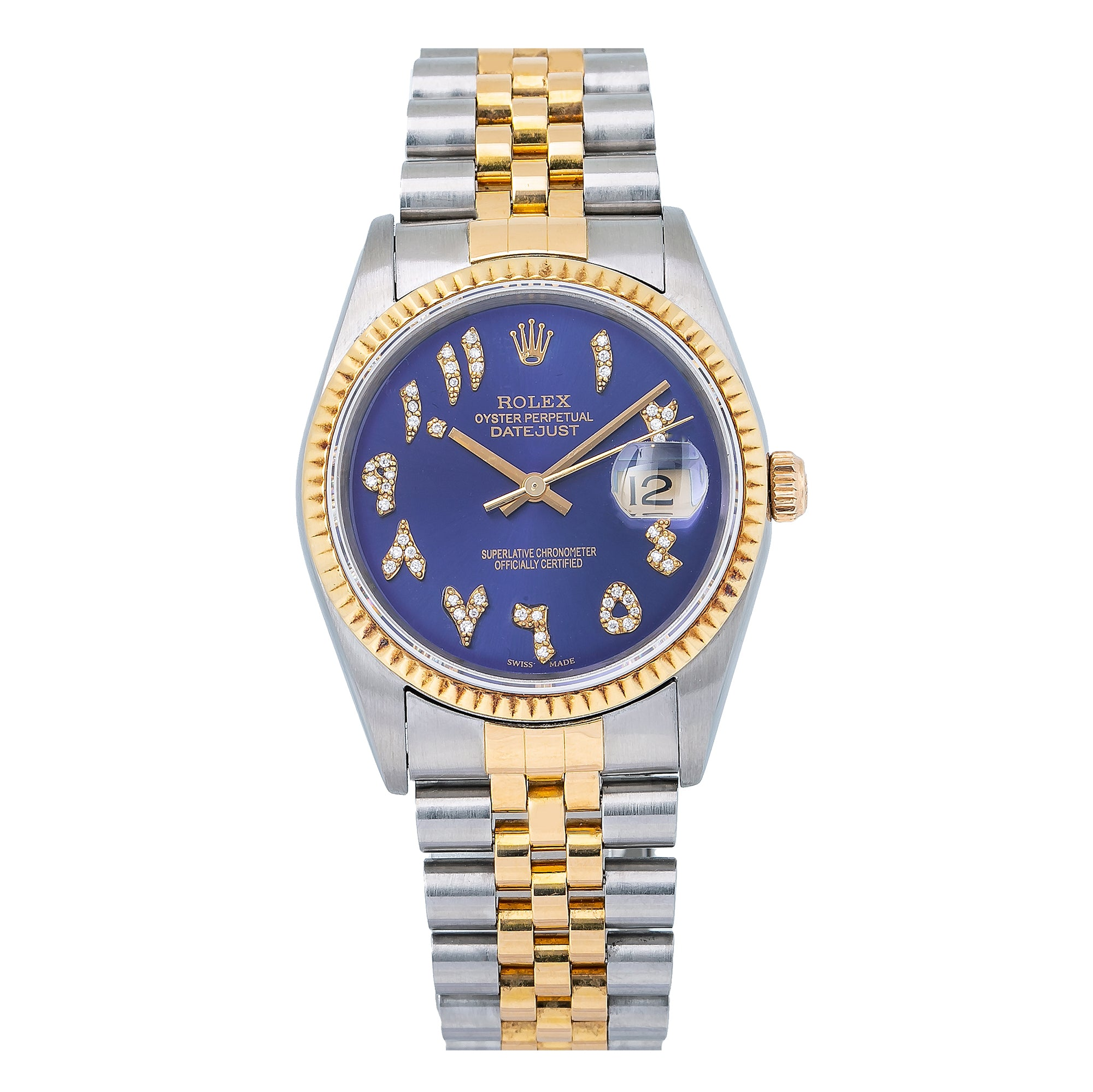 Rolex Datejust 16233 36MM Blue Diamond Dial With Two Tone Jubilee Bracelet