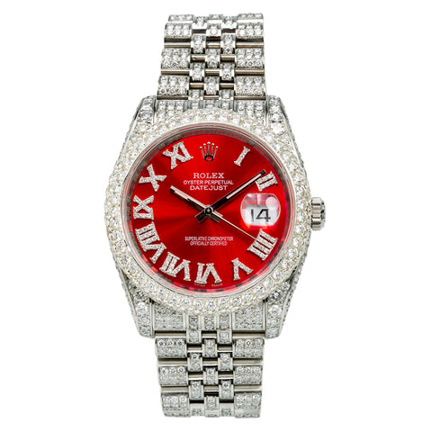 Rolex DateJust 116234 36mm Red Dial With 13.75CT Diamonds