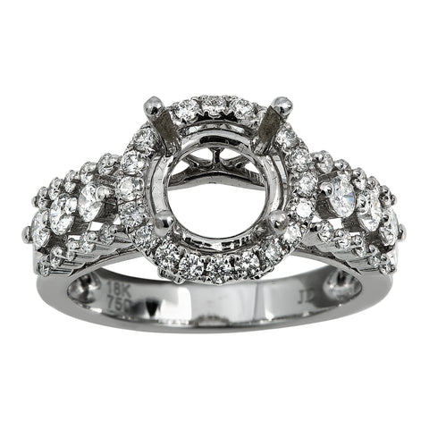 18K White Gold Diamond Engagement Semi-Mounting Women's Ring With 0.95 CT Diamonds