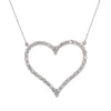 14K White Gold Ladies  Heart Pendant with 2.92 CT Diamond