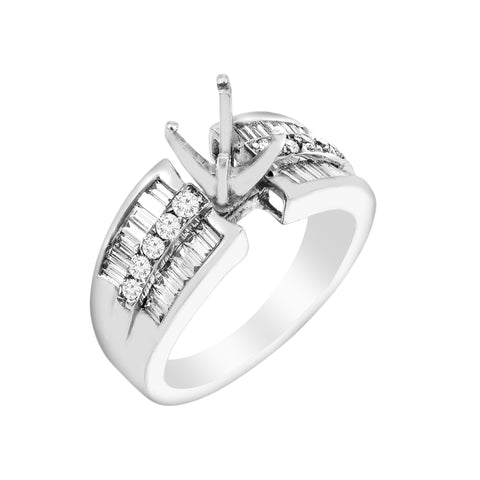 14K White Gold Diamond Engagement Semi-Mounting Women's Ring With 0.70 CT Diamonds