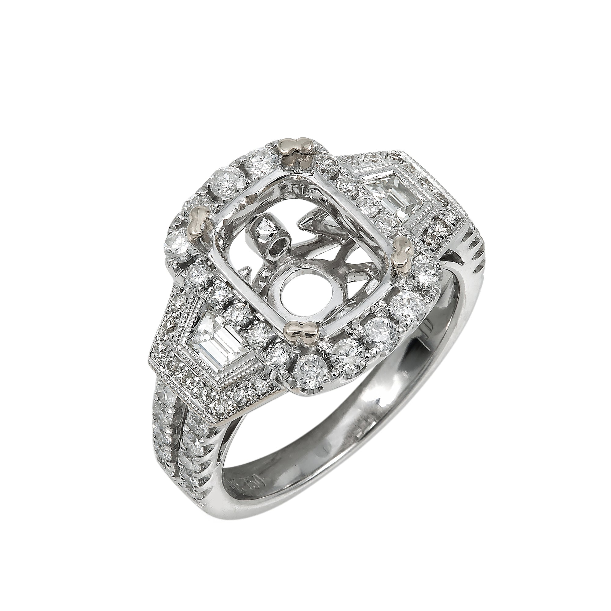 18K White Gold Diamond Engagement Semi-Mounting Women's Ring With 1.01 CT Diamonds